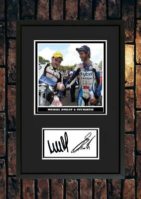 (#277) Guy Martin & Michael Dunlop  Tt Signed A4 Mounted Photo Or Framed  • 6.99£