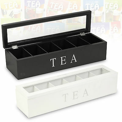 Black Wooden Tea Box 6 Compartments Hinged Glass Lid Spice Coffee Holder  • 7.99£