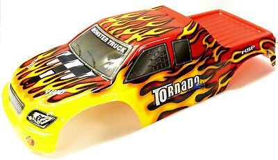 08302 1/8 Scale RC Nitro Monster Truck Body Shell Cover Red Flame Cut • 20.99£