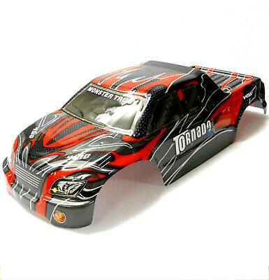 08311 1/8 Scale RC Nitro Monster Truck Body Shell Cover Red Black Cut • 20.99£
