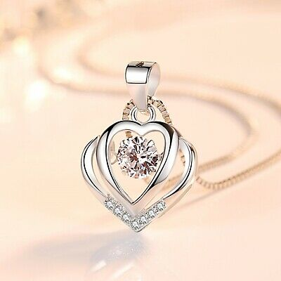 £3.99 • Buy  Heart Crystal Stone Pendant Chain 925 Sterling Silver Necklace Womens Jewellery