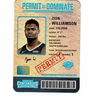 $404.99 • Buy 2019-20 Panini Contenders Zion Williamson RC Rookie Permit To Dominate SSP (JS)