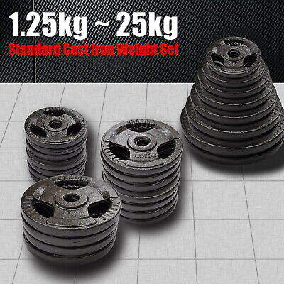 AU55.80 • Buy Standard Cast Iron Hammertone Weight Plate - 1.25kg - 25kg Weight Set Home Gym