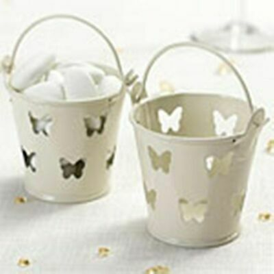 £9.99 • Buy 15 X Ivory Butterfly Favour Pails  Wedding Engagement Anniversary