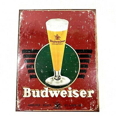 "$ CDN21.80 • Buy BUDWEISER Bud Beer Logo Retro Tin Sign Metal Poster New 13"" X 16"""