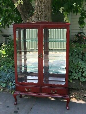 AU250 • Buy Antique Mahogany Queen Anne Crystal / Display Cabinet! W 2 Drawers!