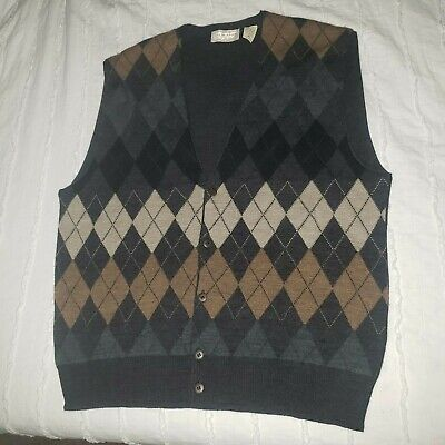 $24.75 • Buy Murano Sweater Vest Cardigan Size L Burgundy Blue Green Made In Italy Mens