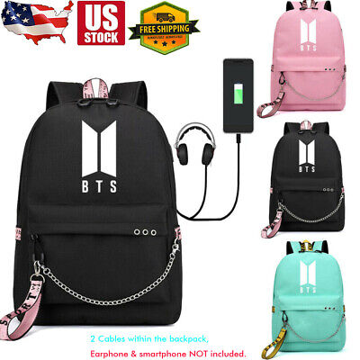 $24.99 • Buy Classic KPOP BTS Backpack Bangtan Boys Schoolbag W/ USB Headphone Ports & Cables