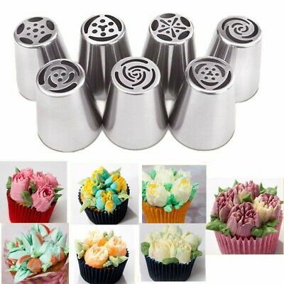 7pcs Russian Leaf Flower Icing Piping Nozzle Tips Cake Topper Baking Tools Decor • 3.58£