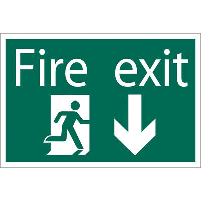 Draper Fire Exit Escape Route Arrow Down Self Adhesive Safety Sign Notice • 12.88£
