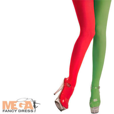 £5.49 • Buy Red & Green Elf Tights Ladies Fancy Dress Festive Christmas Costume Accessory
