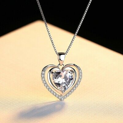 £3.99 • Buy 925 Sterling Silver Double Heart Stone Chain Pendant Necklace Womens Jewellery