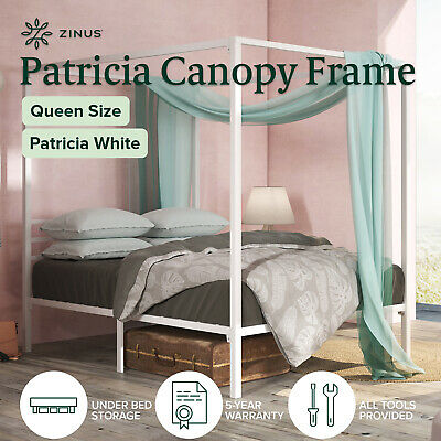 AU183 • Buy Zinus Patricia Metal Queen Canopy Four Poster Platform Bed Frame | Strong Met...