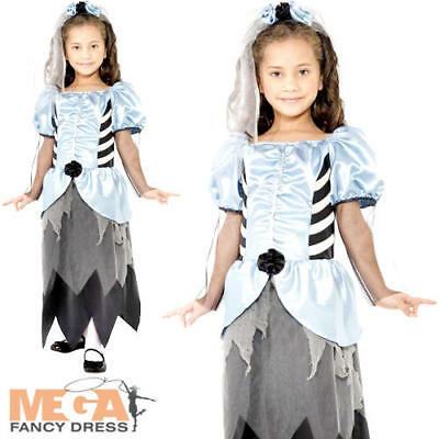 Gothic Zombie Bride Girls Fancy Dress Scary Undead Halloween Kids Costume Outfit • 6.99£