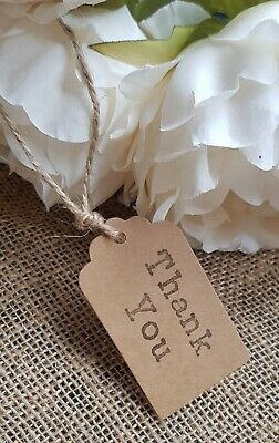 THANK YOU Wedding Table Favour Rustic Vintage Kraft Tags Labels +Twine Personal • 1.99£