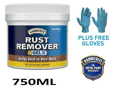 Hammerite Rust Remover Gel Removes Rust From Metal - 750ml + FREE Blue Gloves • 18.99£