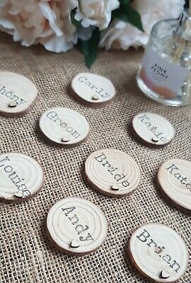 £0.99 • Buy Personalised Wooden Wedding Name Places Rustic ValentinesTable Decoration Heart