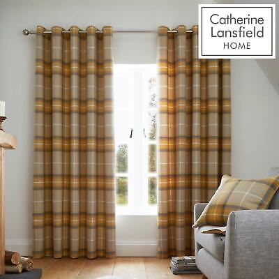 Catherine Lansfield Heritage Check Ochre Eyelet Curtains Ring Top Curtain Pairs • 53.15£