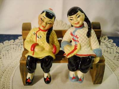 $14.99 • Buy 1940s Mid Century Pair Ceramic Arts Studio Asian Oriental Man & Woman Shelf Sitt