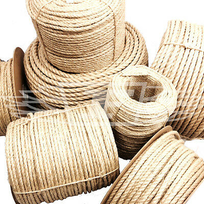 12mm NATURAL SISAL ROPE COILS - ANIMAL TOY SAFE - LANDSCAPING - SCRATCH POST • 9.69£