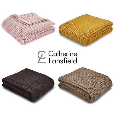 £24.95 • Buy Catherine Lansfield Chunky Knit Throw Blankets Knitted Cosy Throws 125cm X 150cm