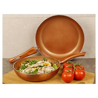 2 Piece URBN-CHEF Ceramic Copper Induction Frying Pans Saucepans Cookware Set • 17.99£