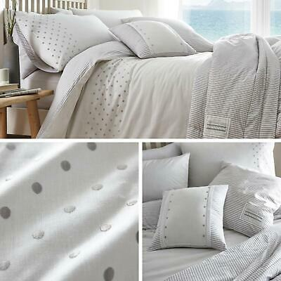 Grey Duvet Covers Polka Dot Stripe Reversible White Quilt Cover Bedding Sets • 35.95£