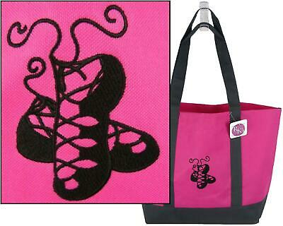 $14.35 • Buy Charcoal Irish Dance Shoes Pomp Ghillies Monogram Bag Bright Pink Day Tote Gift