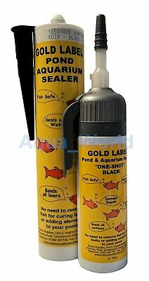 Gold Label Underwater Pond Aquarium Sealant 75ml One Shot, 290ml Black • 12.69£