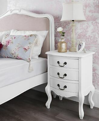 Juliette White Bedside Table. 3 Drawer. French Bedside Cabinet With Carving. • 126.99£