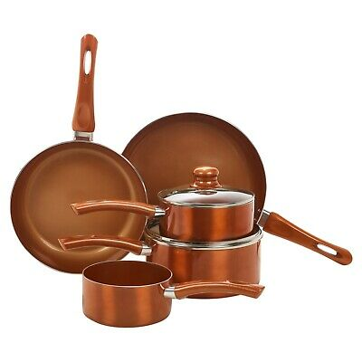 5 PCS URBN-CHEF Ceramic Copper Induction Cooking Pots Lid Saucepans Cookware Set • 44.99£