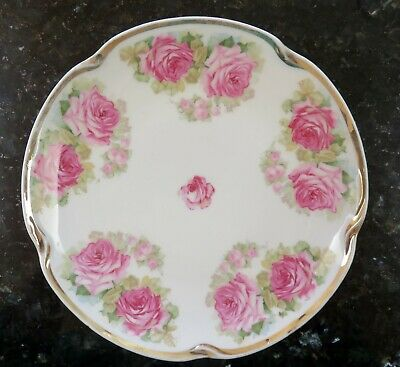 $5.99 • Buy J & C Louise Bavaria Germany Plate~Pink Roses~Gold Trim