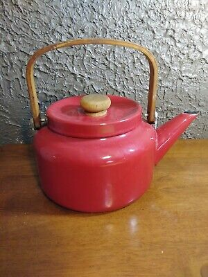$6.99 • Buy Enamel Red Tea Pot Kettle Enamelware Metal Farm House Decor