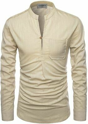 NEARKIN Mens Collarless Shirt Tunic Cream Size XXL B63 • 14.99£