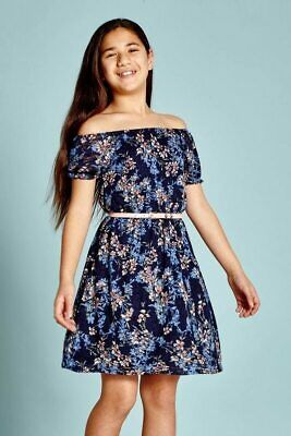 Yumi Girl Floral Lace Bardot Dress • 15£