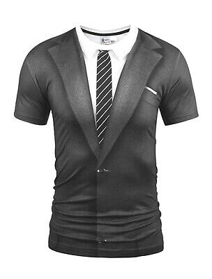 £13.99 • Buy Suit Costume T-Shirt ( Funny Fancy Dress Shirt And Tie Novelty Printed Tee )