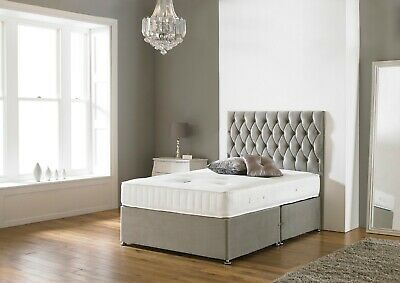 £319.99 • Buy  New Suede Memory Foam Divan Bed Set With Mattress Headboard All Sizes