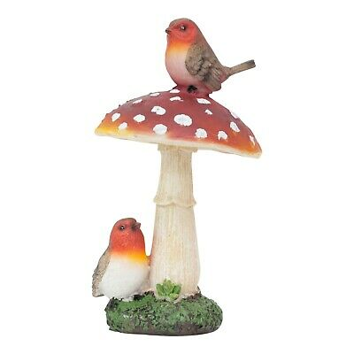 £12.99 • Buy Robin Birds On A Mushroom Garden Ornament Outdoor Decoration Statue