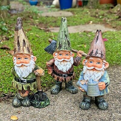 Set Of 3 Traditional Garden Gnome Ornaments • 12.99£