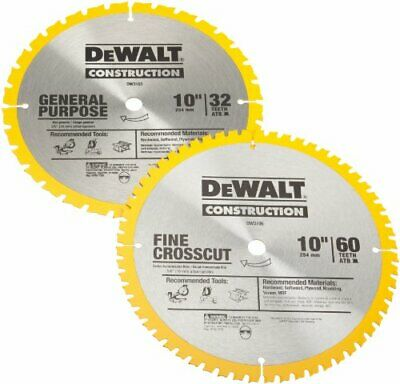 AU45.74 • Buy DEWALT DW3106P5 60-Tooth Crosscutting And 32-Tooth General Purpose 10-Inch Sa...