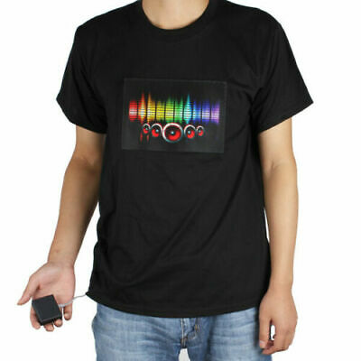 Fashion Men & Women Clubbing Light Up Flashing Sound Activated LED T-Shirt Rave • 6.64£