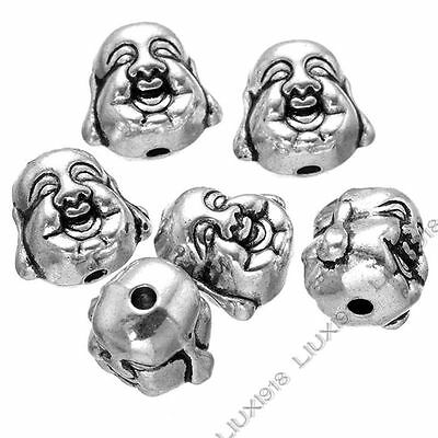 10pc Tibetan Silver 2-Sided Buddha Head Spacer Beads For Necklace Bracelet PJ753 • 1.89£