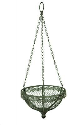 Antique Grey Metal Hanging Garden Herb Flower Plant Planter Hanger Basket • 10.34£