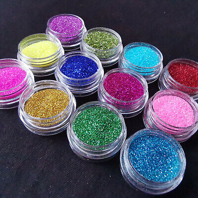 12 Colours Glitter Dust Powder Pots Set Nail Art Tips Decoration / Crafts / DIY • 1.99£
