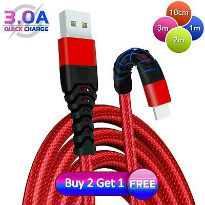 £3.49 • Buy Heavy Duty Braided USB Charger Charging Lead Data Cable 2M 3M For IPhone X 7 6 5