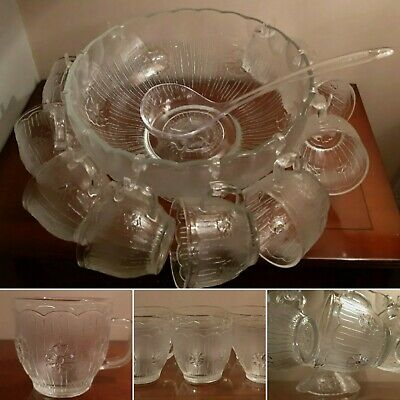 Absolutely Stunning Vintage Glass Punch Set 10 Cups, Bowl, Pedestal, Ladle Hooks • 34.99£