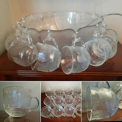 Absolutely Stunning Vintage Glass Punch Bowl Set 8 Cups, Bowl, Ladle & Hooks • 34.99£