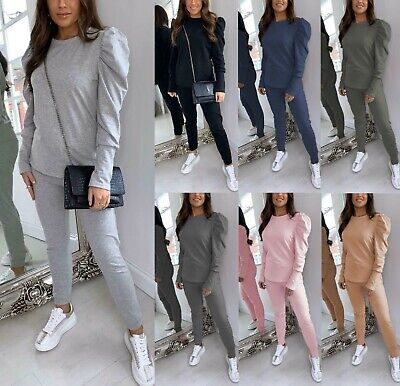 Women Ladies Puff Sleeve Top Cuffed Jogging Bottom Loungewear Suit Tracksuit Set • 14.90£