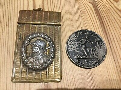 Rare Pair Of Original WW1 Imperial German 1916 Soldiers Helmet Badge And Medal • 16£