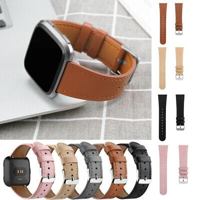 $ CDN9.35 • Buy Genuine Leather Watch Replacement Strap Wrist Bands Bracelet For Fitbit Versa